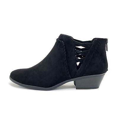 SODA Women s Sincere Cross Strap Low-Heel Ankle Booties (Black IMSU 24f25fcabb
