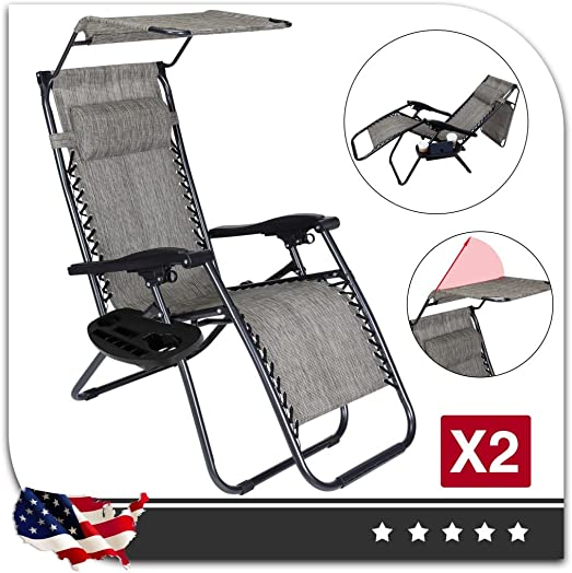 Cheap Set of 2 Zero Gravity Outdoor Lounge Chairs w/Sunshade Cup Holder outdoor recliner for sale
