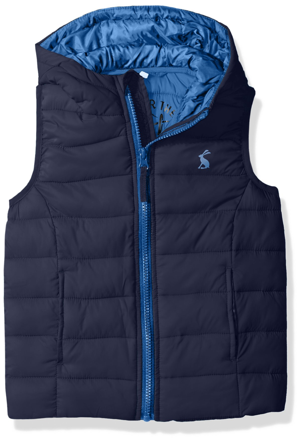 Joules Little Boys' Milo Hooded Packaway Gilet, French Navy, 6