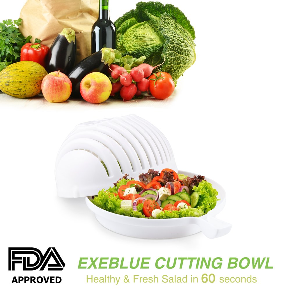 Salad Cutter Bowl, Vegetable Cutter Salad maker Bowl,Chopper Healthy and Fresh Salads Made Easy! (white)