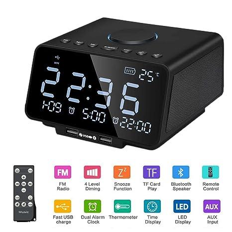 Radio Reloj Altavoz,SUAVER Despertador Digital Altavoz Inalámbrico Bluetooth Estéreo bajo Altavoz con Radio FM