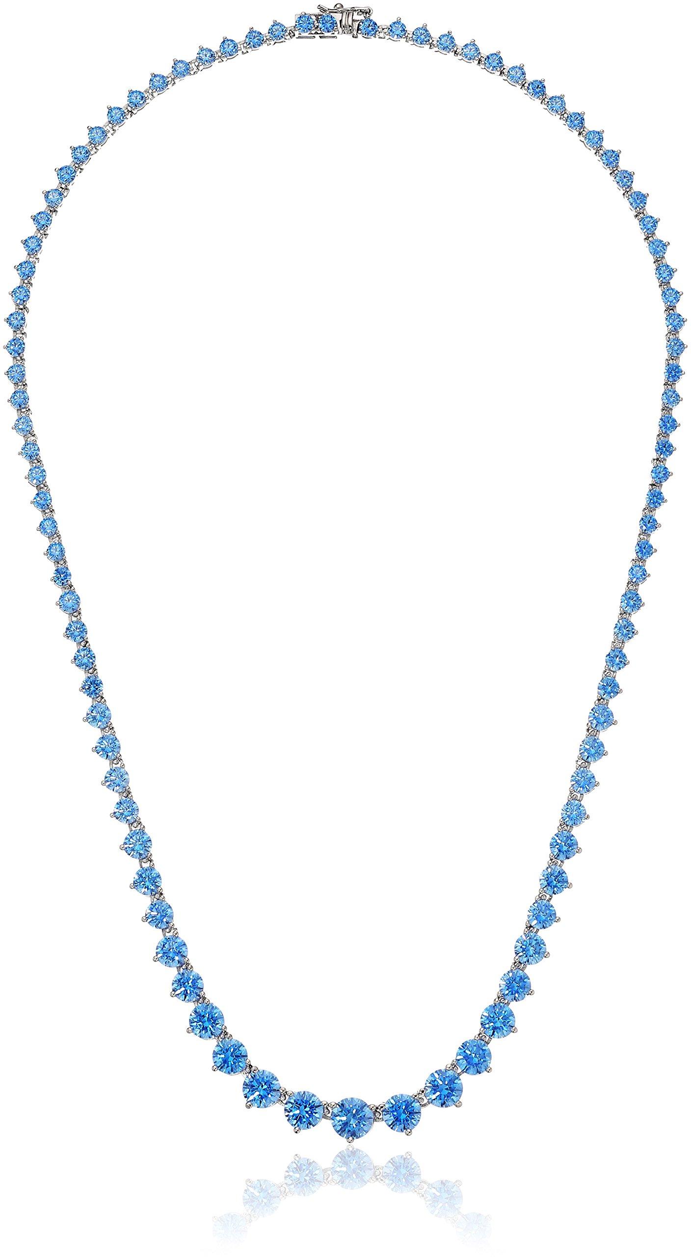 Platinum Plated Sterling Silver Swarovski Zirconia Artic Blue Round-Cut Graduated Riviera Necklace, 17''
