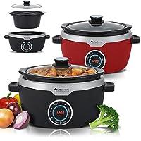 Digitale slow cooker 3,5 l met timer, warmhoudfunctie, stoompan, stoofpan, tuinpan, sous-vide, retro zwart