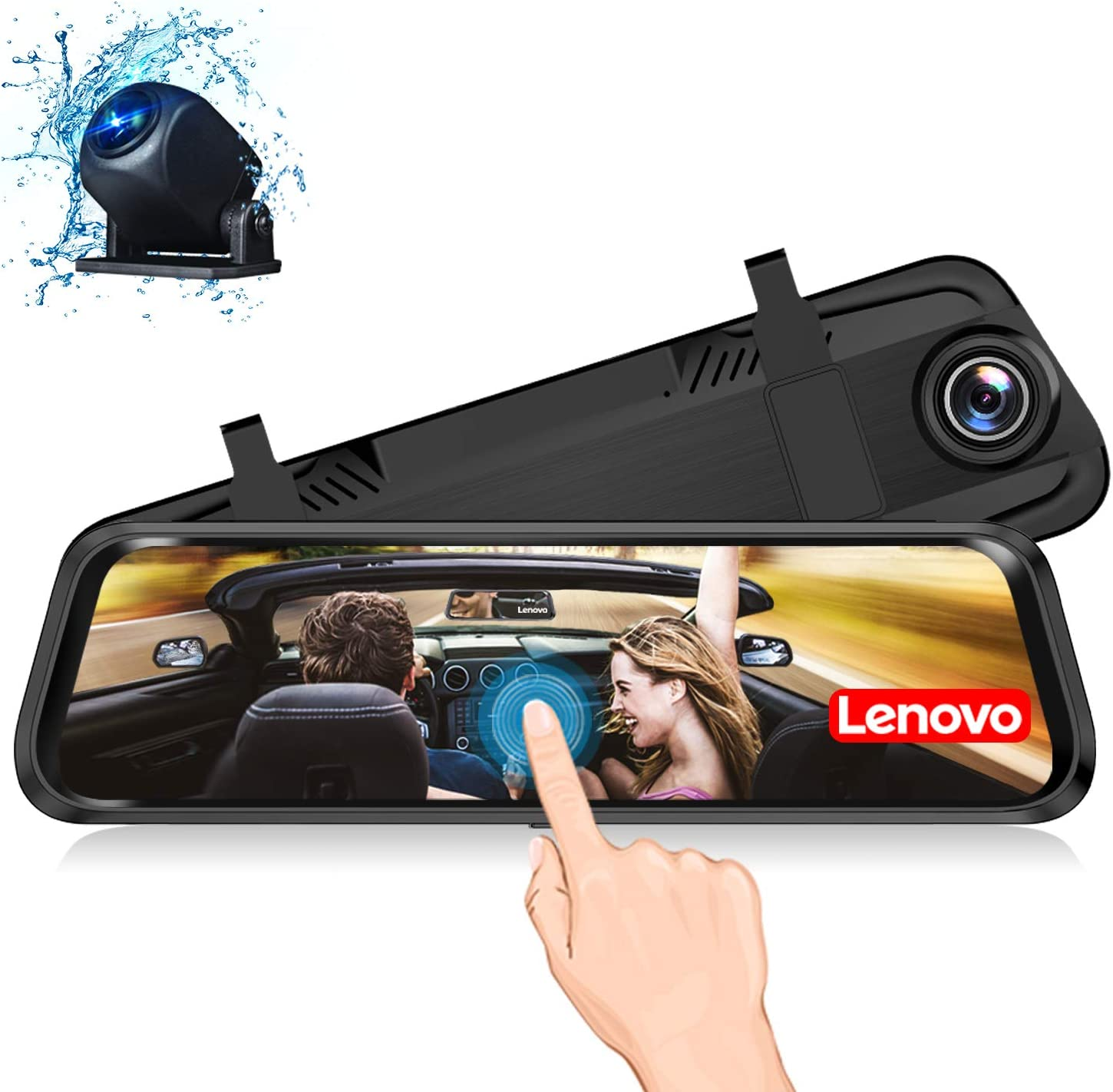 Lenovo Mirror Dash Cam 1080P Cam Touch Full Screen Rearview Front and Rear Dual Lens Waterproof Full HD Camera Touch Screen HR06A Backup Camera 9.66 Inch Mirror Dash Screen