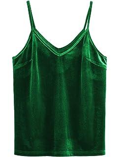 9cdf73171aeb75 SheIn Women s Casual Basic Strappy Velvet V Neck Cami Tank Top