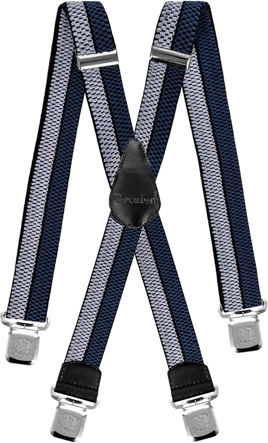 Mens Suspenders Very Strong Clips Heavy Duty Braces Big and Tall X Style
