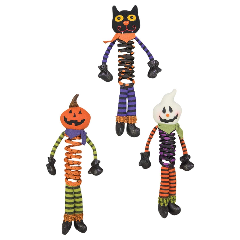 Hannas Handiworks Springy Halloween Pals 9 Inch Plush Polyester Shelf Sitting Figurines Assorted Set of 3