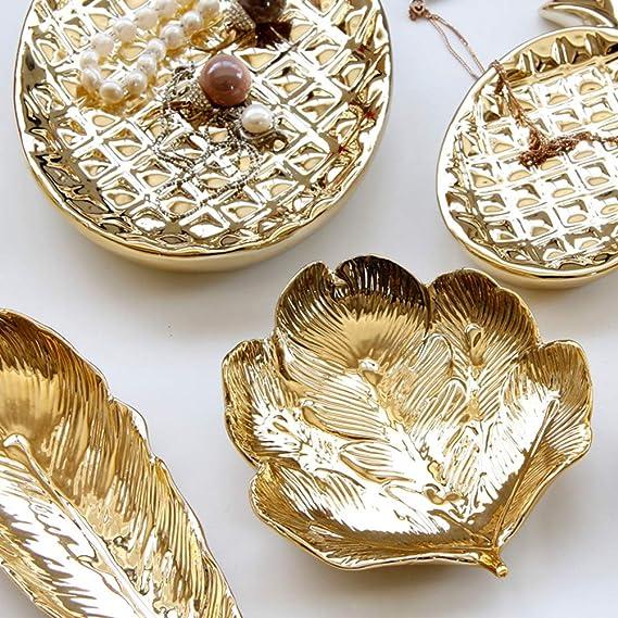 Wakauto Blattgold Geformte Kleine Schmuck Ringschale Blattgold Trinkle Teller Schmuck Tablett Platte Dekorative Platte f/ür Halskette Ohrringe Ringe Armband Tablett Veranstalter
