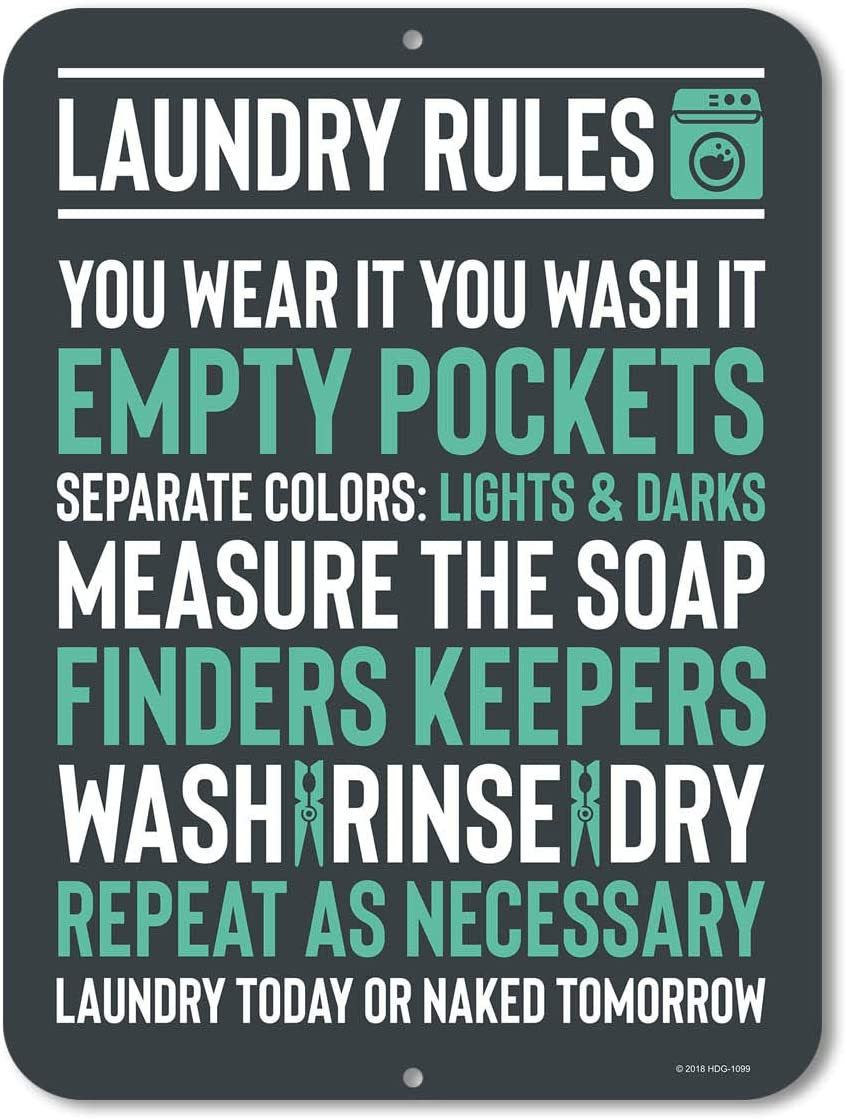 Honey Dew Gifts Laundry Room Decor, Laundry Rules Sign, 9 x 12 inch Novelty Tin Funny Laundry Signs