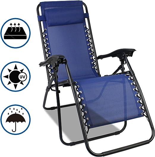 SOTECH Transat de Plage Pliable,Chaise Longue Inclinable,Fauteuil Relax avec Coussin,Charge Maximale 100 Kg,165 x 112 x 65 cm,Noir