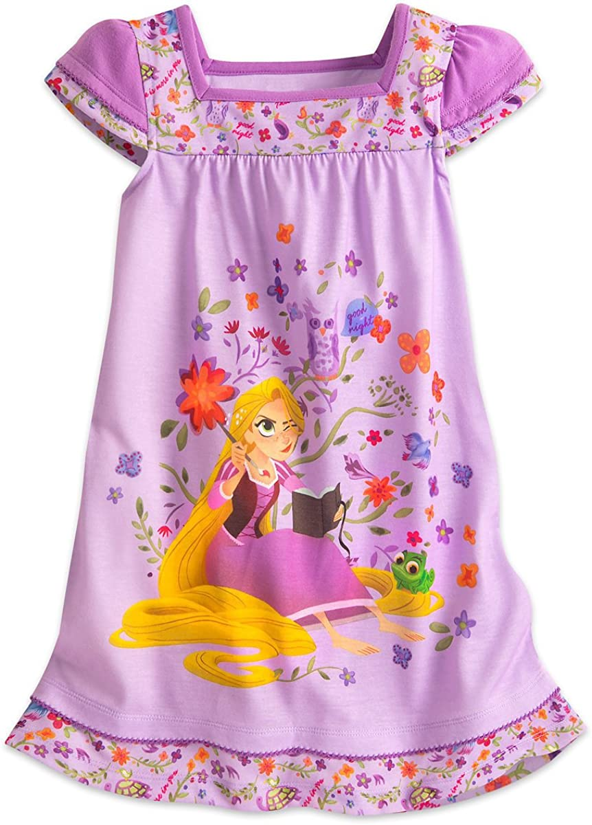 Amazon Com Disney Tangled Rapunzel Eugene And Owl Purple Floral Nightgown 7 8 Clothing