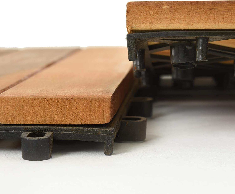 2m/² Holzfliesen Terrassenfliesen Fliesen Holz Mosaik 30x30 cm Balkonfliesen Akazienholz Akazie Stecksystem Klicksystem Terrasse Balkon