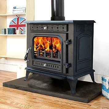 Nuevo quemador de troncos de hierro fundido multicombustible, estufa de leña, quemadores de leña, quemador limpio + un tubo de combustión de 12,7 cm: ...