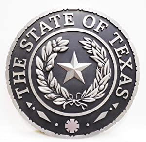 Wall Plaque of The Great Seal of The State of Texas,Silver and Black Colors