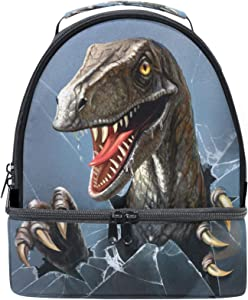 Naanle 3D Evil Dinosaur Breaks Through The Glass Double Decker Insulated Lunch Box Bag Waterproof Leakproof Cooler Thermal Tote Bag Large for Men Women Youth