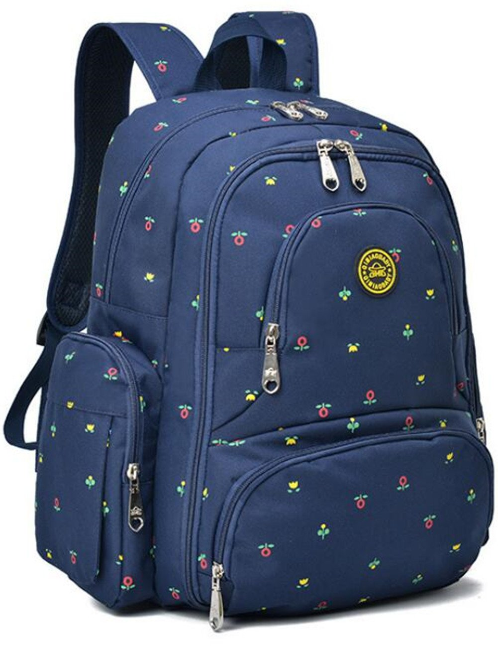 Aidonger Baby Diaper Backpack Waterproof Nylon with Clips Large Capacity Fit Stroller (Darkblue&Flower)