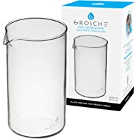 GROSCHE Standard Universal design French Press Replacement Glass Beaker French Press Coffee makers (1000 ml / 34 oz / 8…