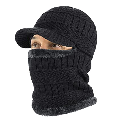 bab07ee8dbae4 Amazon.com  TAGVO Winter Knitted Balaclava Beanie Hat with Flexible Neck  Warmer