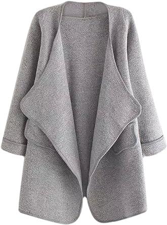 Amazon Com Shein Sueter Abierto Al Frente Largo Para Mujer Abrigo Talla Unica Gris Clothing