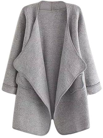 14182033a3fc49 SheIn Damen Lang Strickjacke Cardigan Herbst Schalkragen langarm Mantel Grau  Einheitsgröße  Amazon.de  Bekleidung