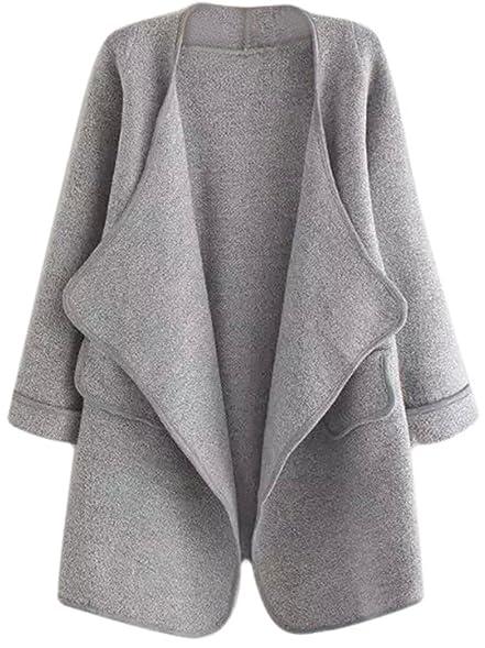 SheIn Women's Long Cardigan Open Front Sweater Coat One-size Grey ...