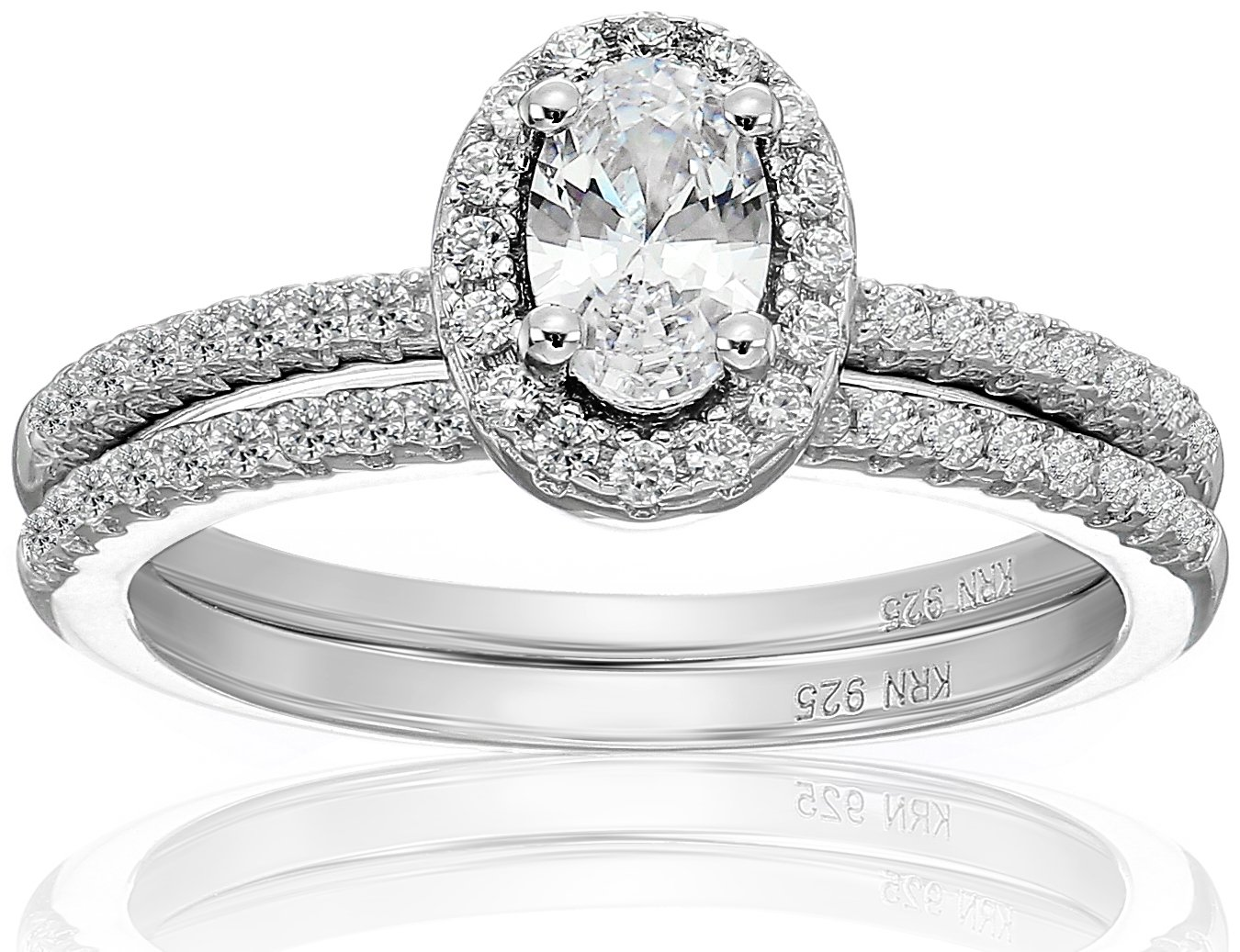 Amazon Collection Cubic Zirconia Oval Frame Bridal Set in Sterling Silver Wedding Ring, Size 6