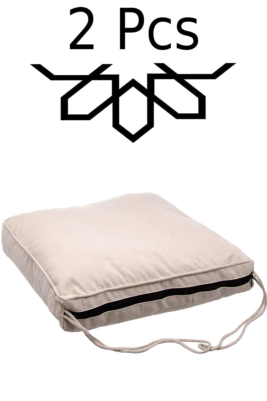 2 er Set Sitzkissen Stuhlkissen mit Schleife 45cm Groß Eckig | Outdoor im Garten als Stuhlauflage oder Indoor als Stuhl Kissen im Wohnzimmer oder Küche | Eckiges Bodenkissen aus Baumwolle 45 x 45 cm