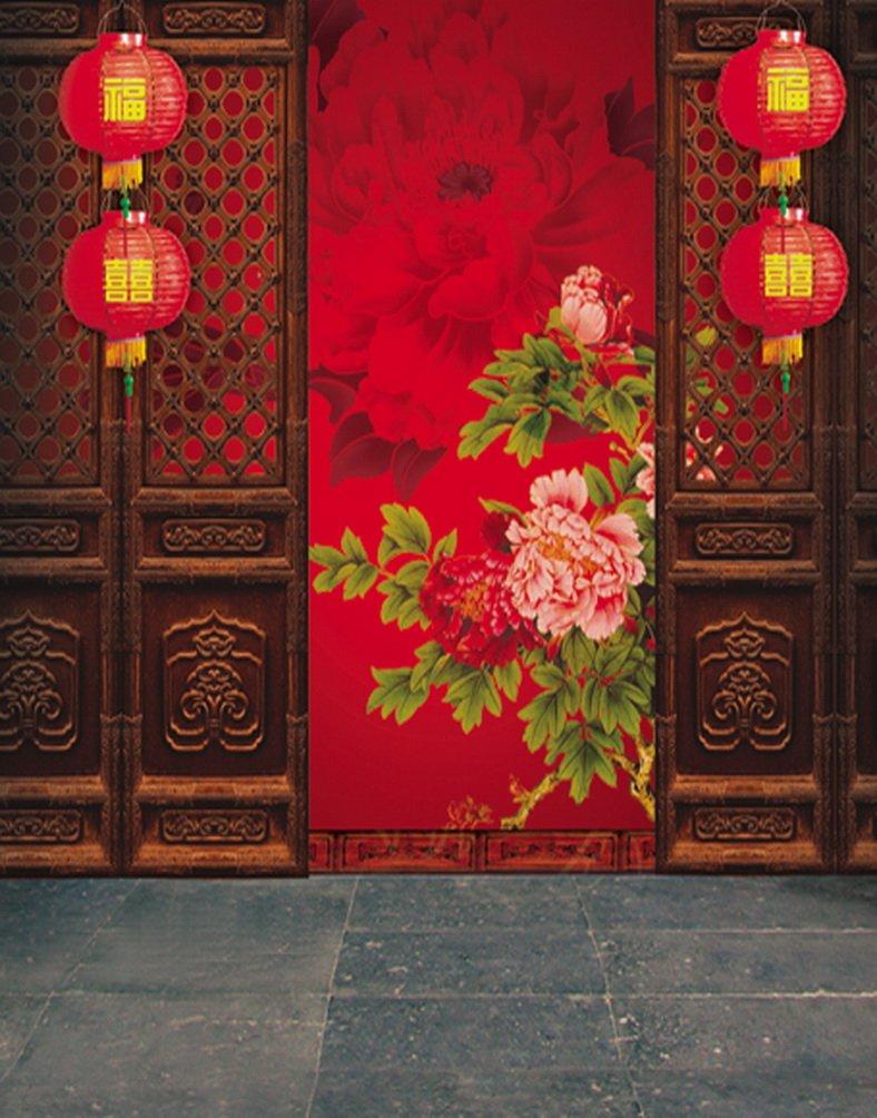 ストーン 中国の伝統的なドアハウス 花 絵画 写真撮影 背景 写真小道具 スタジオ背景 5x7フィート   B01I4JTXSS