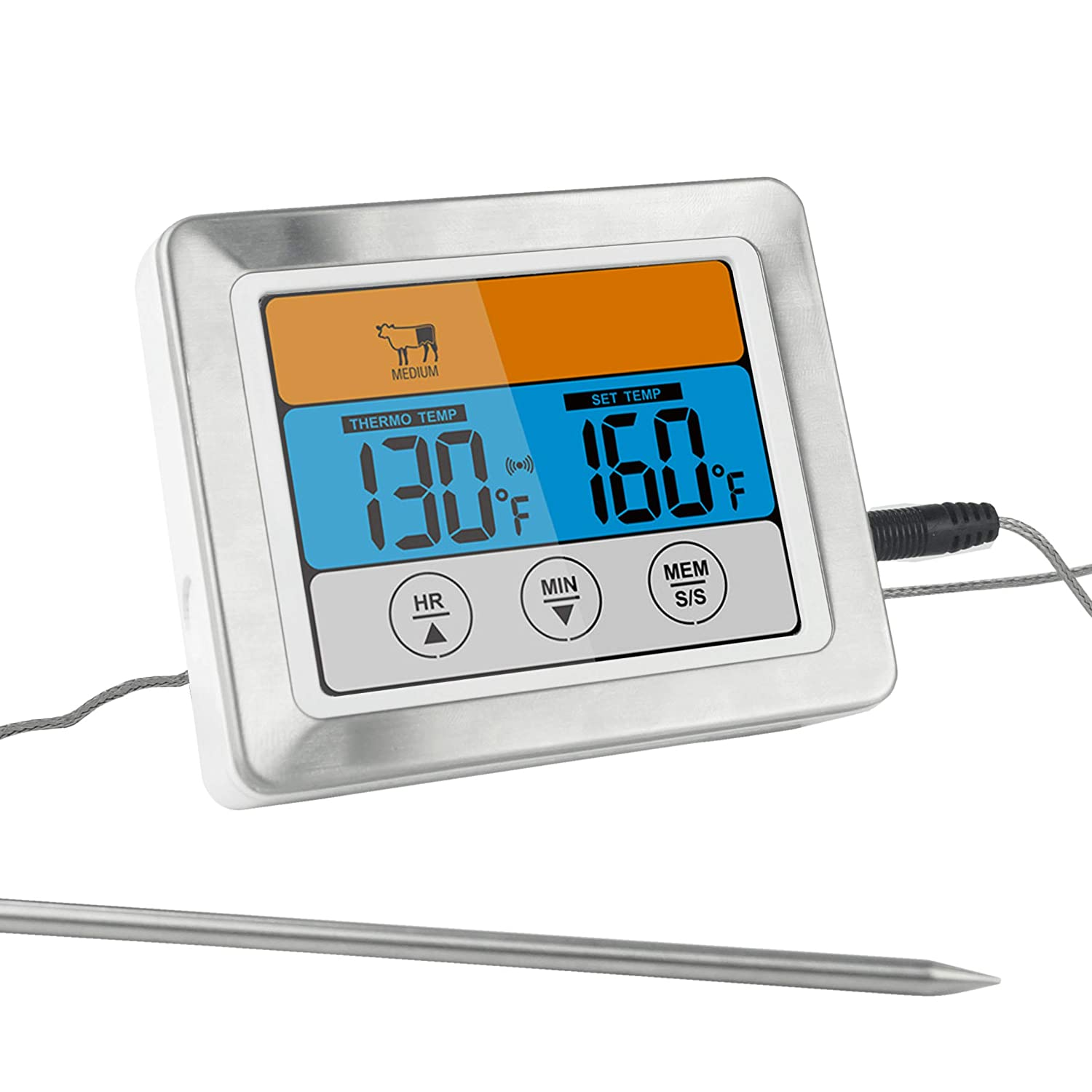 "Kohi Digital Meat Thermometer Food Thermometer Oven Safe Timmer with 3.2"" Large Color Touch Screen for Grilling Roasting Turkeys, BBQ, Oven Cooking"