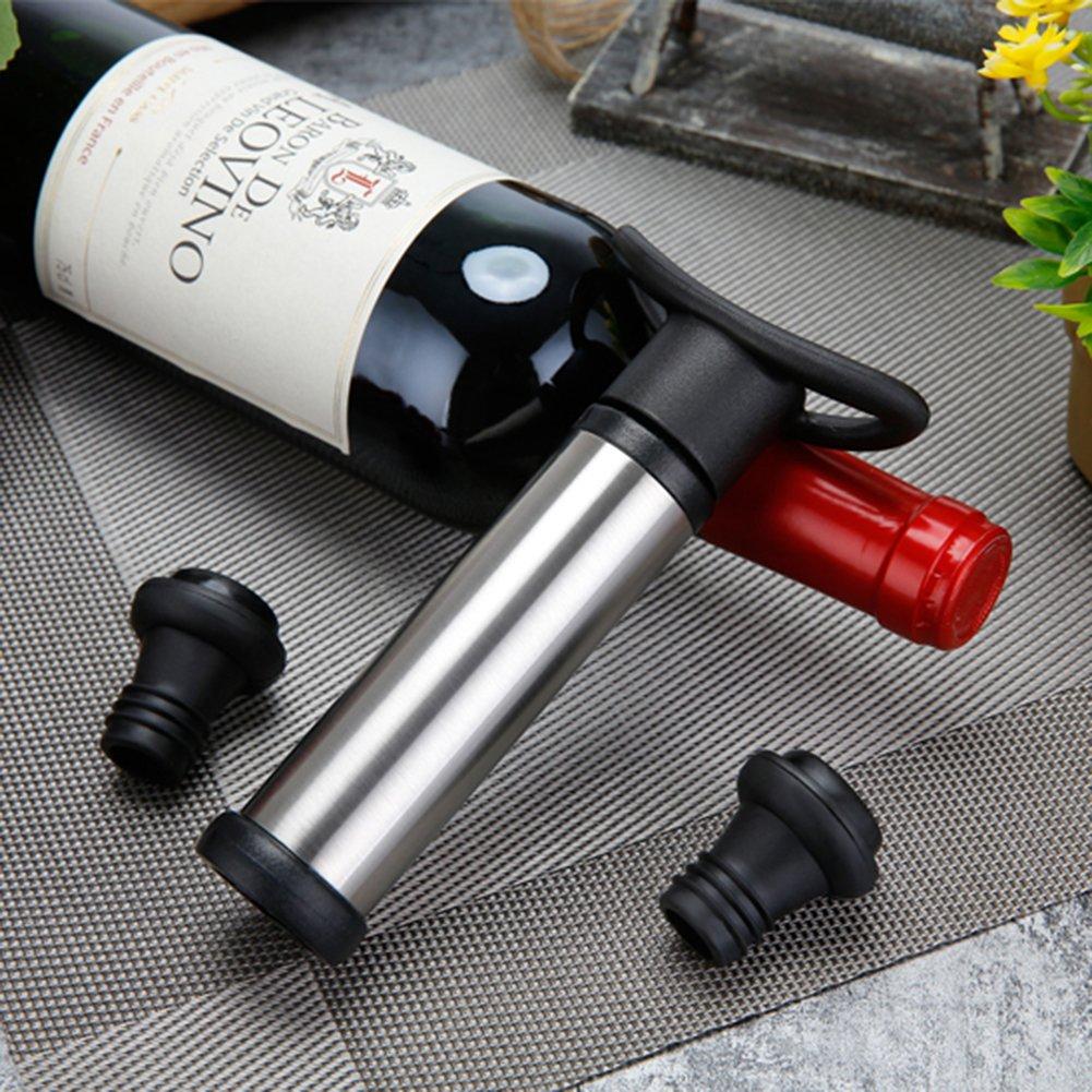 Vino Pompa Vuoto InteCasa Pompa Salvavino con 6 Tappi di Bottiglia di Vino Pompe da travaso per Vino Dispositivo per la conservazione del Vino in Acciaio Inox Tappo Vino