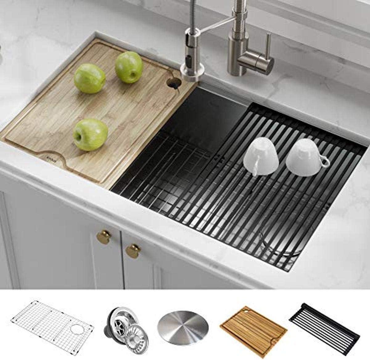 best stainless steel kitchen sinks: KRAUS KWU110-32 Kore Workstation