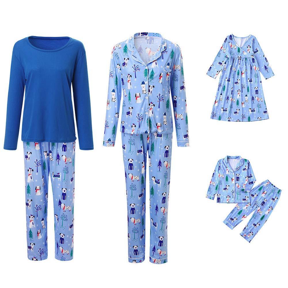 Weihnachten Schlafanzug Familien Outfit Mutter Vater Kind Baby Pajama Langarm Nachtwäsche Cartoon Print Sleepwear Top Hose Set Casual Damen Herren Junge T-Shirt Pullover Bluse+Lang Hose Mädchen Kleid