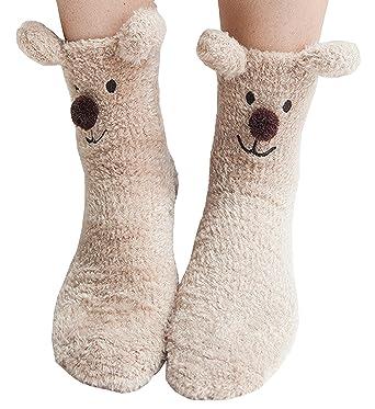 adbc9443573 Winter Slipper Socks Warm Fluffy Home Socks Plush Coral Christmas Socks  Casual Animal Socks Fuzzy Stockings Anti-slip Indoor Floor Socks (Bear)  ...