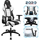 【New Update】 Furgle Gaming Chair Racing Style High-Back Office Chair with Adjustable Armrests PU Leather Executive Ergonomic Swivel Video Game Chairs with Headrest and Lumbar Support (White&Black)