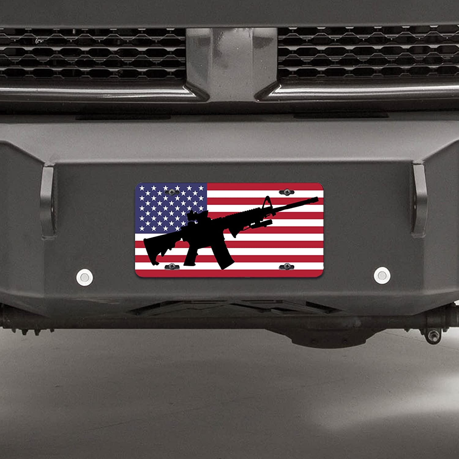 Three Percenters 3/% Army Navy Marines Air Force Special Ops III Military American Flag License Frame Plate AR-15 Molon Labe AR15 UV005