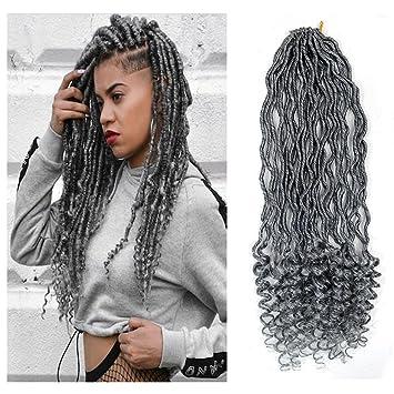 Amazon Com 6packs 18 Goddess Locs Crochet Braids Grey Wavy Faux
