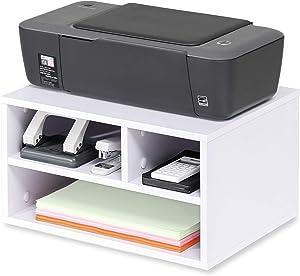 FITUEYES Wood Printer Stands with Storage Desktop Workspace Organizers, White, FDO304005WW