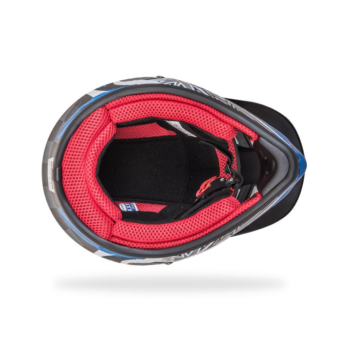 Blanc Rouge Bleu, XS 53-54CM NENKI NK-303 Casque de Moto Tout-Terrain pour Enfants,ECE Homologu/é