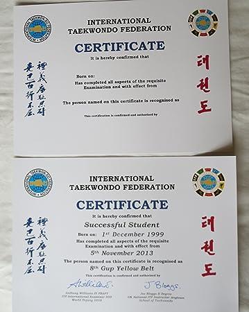 ITF Taekwondo Zertifikat: Amazon.de: Sport & Freizeit