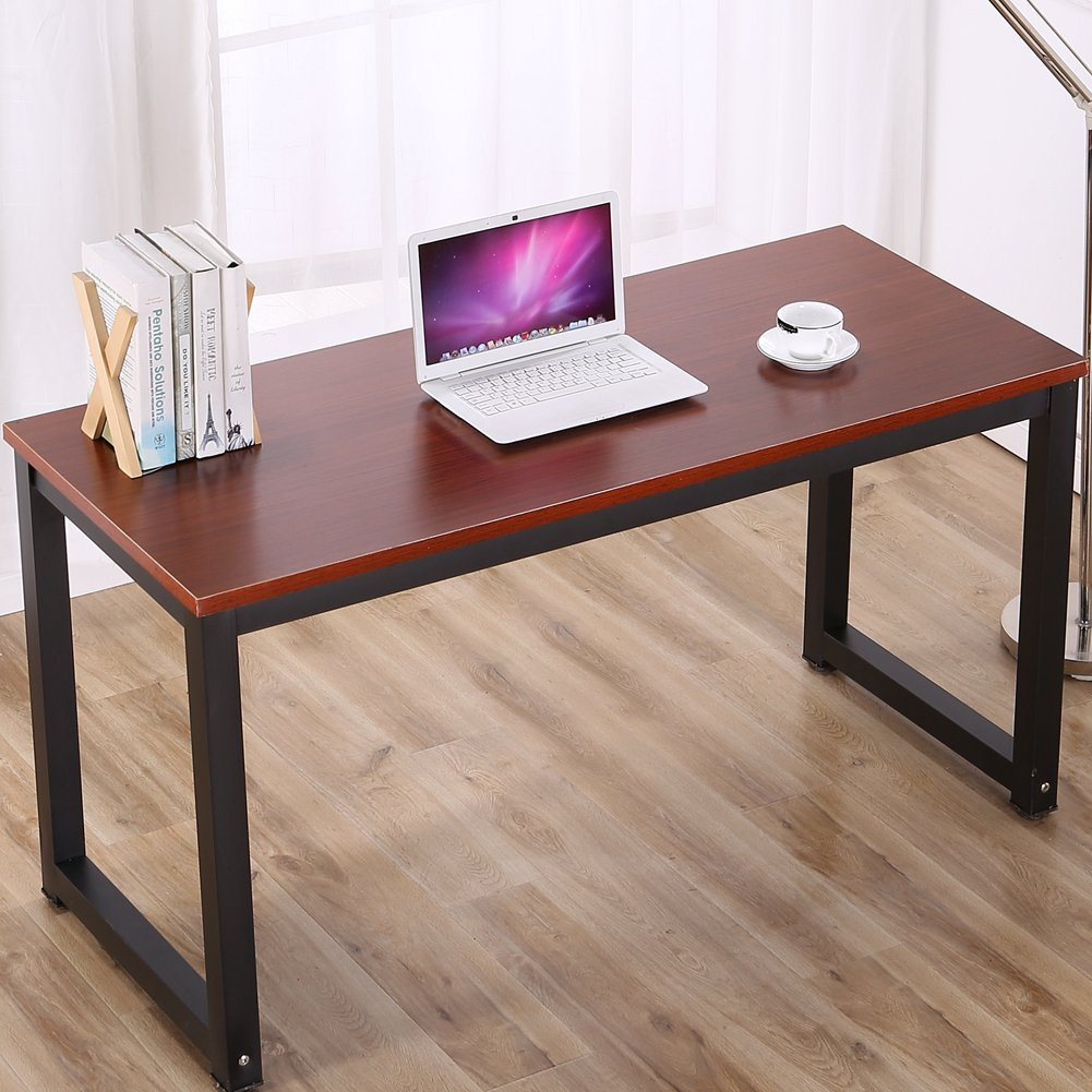 Modern Simple Style Computer Desk Office Desk Study Table Dining Table, Teak + Black Leg, 47.2'' X 23.6'' X 29.1''
