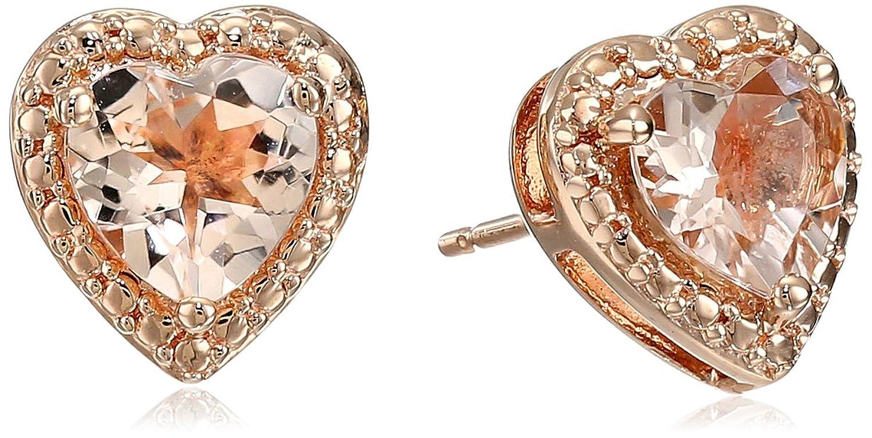 10k Pink Gold Heart Shape Morganite Stud Earrings (6 mm)