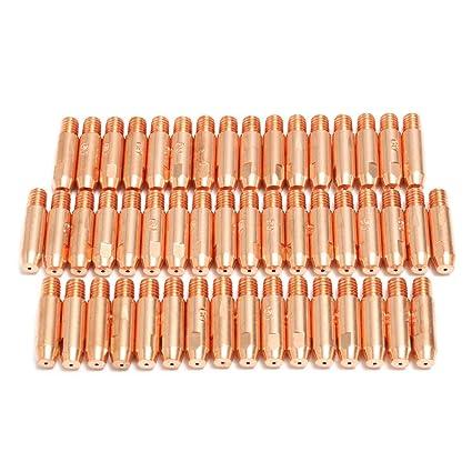 TOOGOO 50pzs 0.8mmx6mm Punta de contacto de cobre para MB24 MIG MAG antorcha del soldador