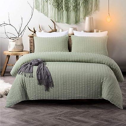 Ordinaire 3 Pieces Green Duvet Cover Set Sage Green Bedding Seersucker And Green  Washed Microfiber Reversible Design