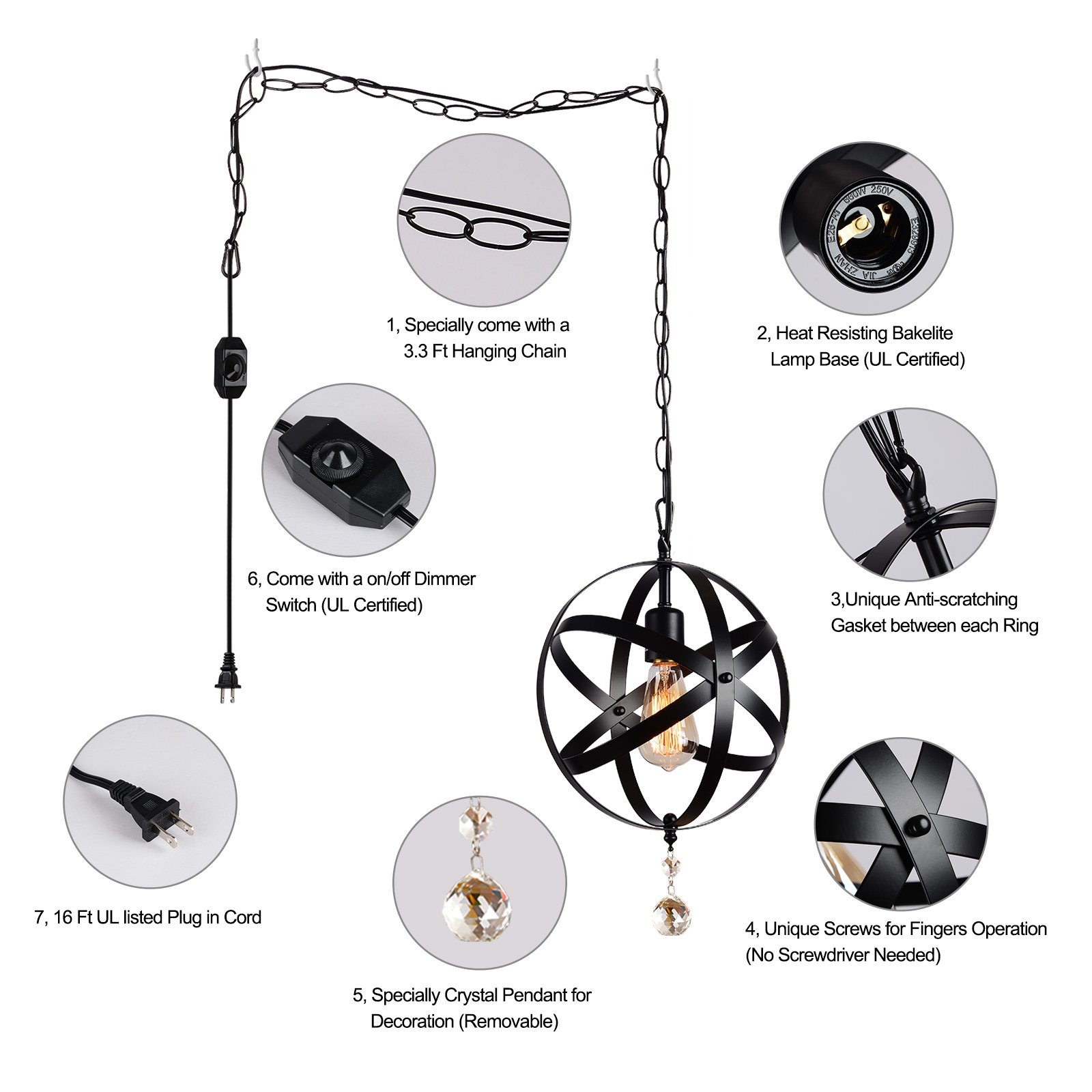 HMVPL Plug-in Industrial Globe Pendant Lights with 16.4 Ft Hanging Cord and Dimmable On/Off Switch, Vintage Metal Spherical Lantern Chandelier Ceiling Light Fixture by HMVPL (Image #5)