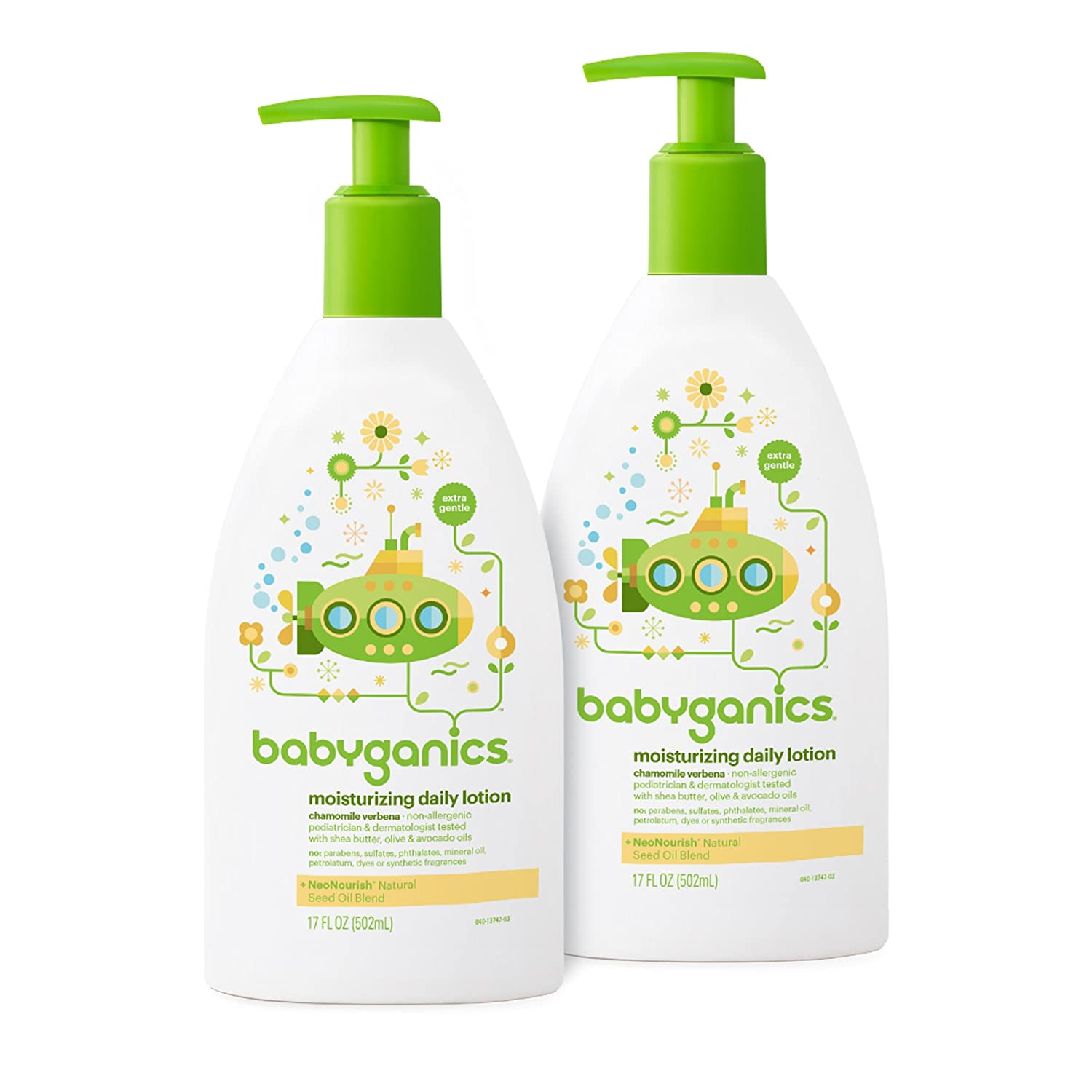 Babyganics Moisturizing Daily Lotion, Fragrance Free, 17-Ounce Pump Bottle (Pack of 2)