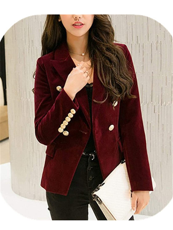 Autumn Velvet Blazer OL Formal Work Small Suit Jacket Women Slim Long Sleeve Ladies Blazers