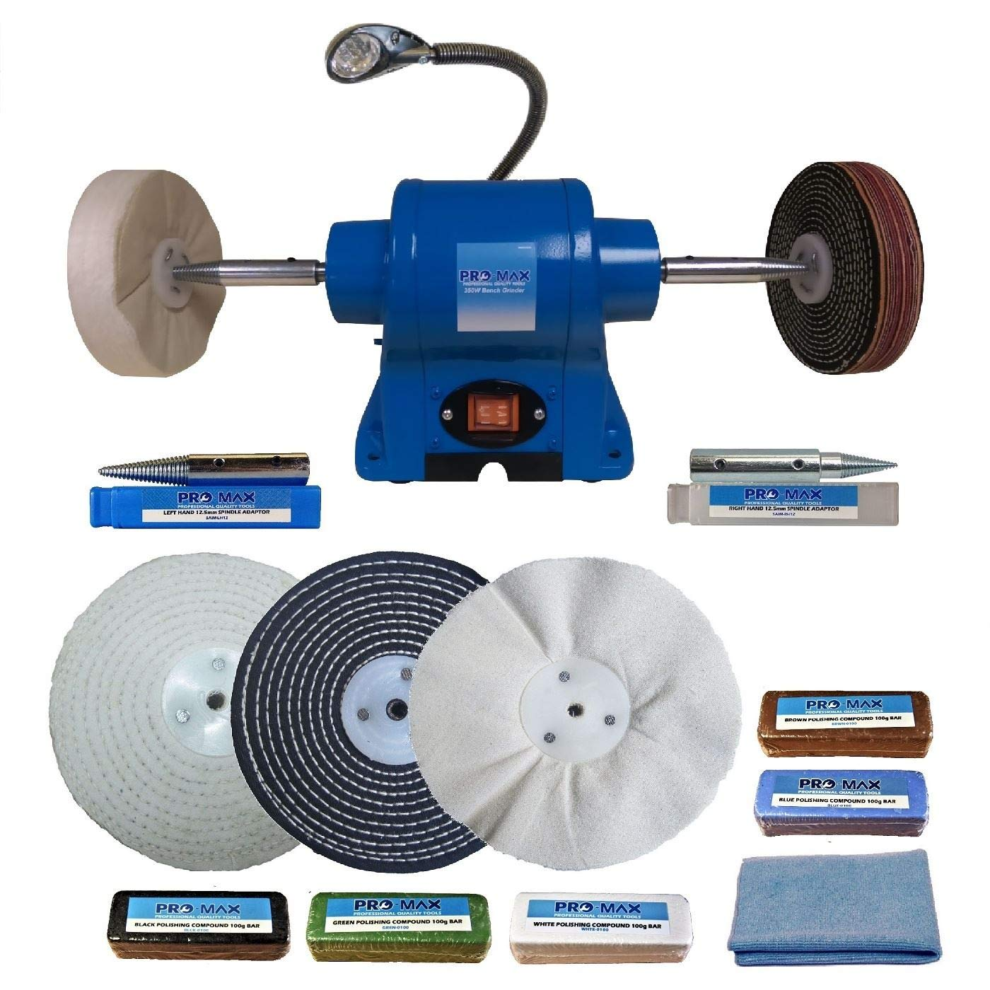 6' Bench Grinder 350W And 6' Metal Polishing Kit Machine - Pro-Max Pro-Max Quality Tools & Accessories