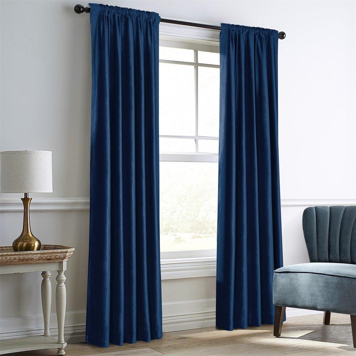Dreaming Casa Royal Blue Velvet Room Darkening Curtains for Living  Room,Thermal Insulated Rod Pocket/Back Tab Window Curtain for Bedroom(2  Panels,52\