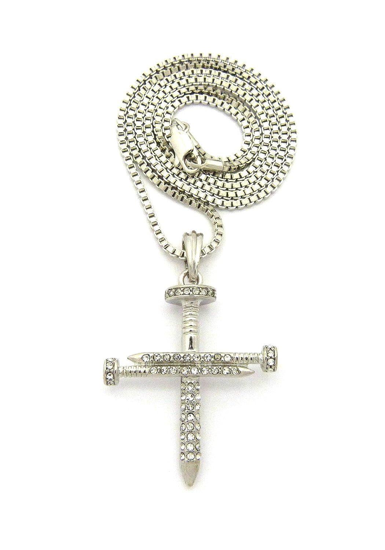 Collier de ton argent à pendentif de croix de clous couverte de pierres de Strass, chaîne cubique l.2 mm L.61 cm SP12RBX