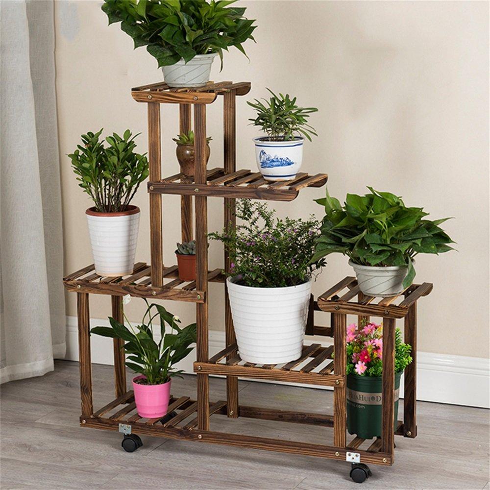 Cornice floreale   Stand per piante all'aperto   6 strati di fiori in legno rack   carbonizzato corrosione di atterraggio a più strati combinazione scaletta pentola rack stand espositore di fiori per
